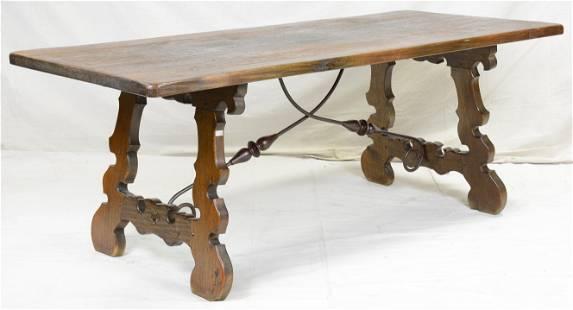 Spanish Style Oak Iron Base Dining / Writing Table