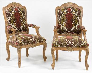 Pair French Style Upholstered Arm Chairs