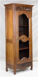 French Carved Oak Vitrine / Bonnetiere