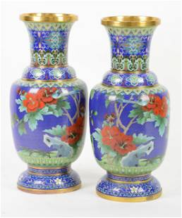 Pair Chinese Cloisonne Floral / Bird Decorated Vases