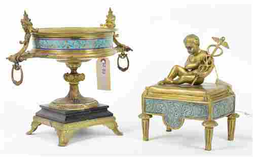 Egyptian Style Bronze Cassolette & Caduceus Figure