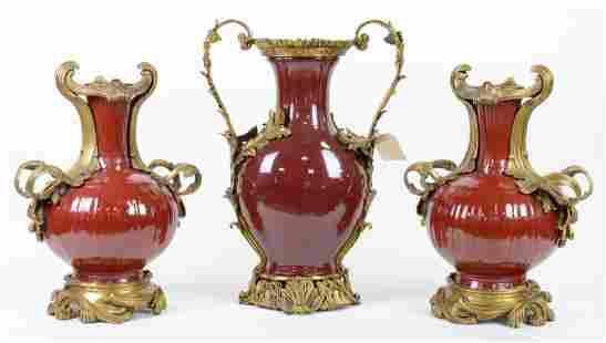 3pc Sang de Boeuf Brass Mounted Garnitures
