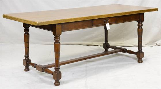 French Oak Single Drawer Table With Turned Legs