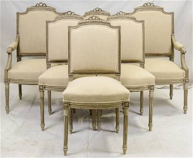 6 Painted Louis XVI Style Re-Upholstered Chairs
