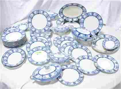 50+ pcs Flaxman S.H. & S. Blue / White China Set