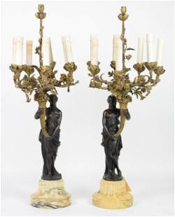 French 19th Century Bronze Figural Candelabras