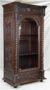 French Carved Oak Barley Twist Single Door Bookcase