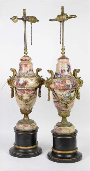 Pair Napoleon III Bronze & Veined Marble Urn Lamps