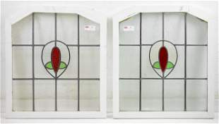 Pair English Leaded Stained Glass Windows