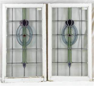 Pair English Stained Glass Blue Oval Pattern Windows