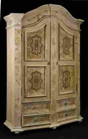 Bleached Burl Walnut 2 Door 4 Drawer Cupboard