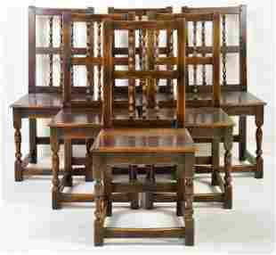 Set of 6 Oak Spindle Back Chairs
