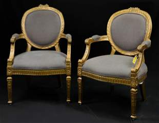 Pair French Style Gilt Arm Chairs