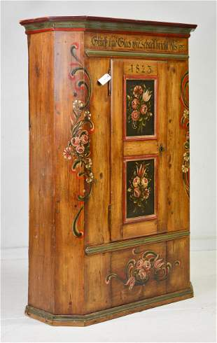 European Painted Single Door Cupboard