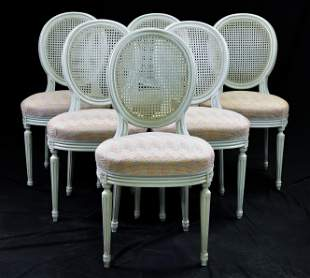 Set of 6 Painted Cane Back French Chairs
