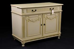 Painted French Style 1 Drawer 2 Door Cabinet