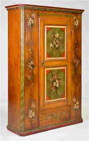 European Painted Single Door Cupboard / Cabinet