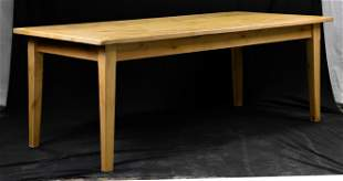 French Light Oak Farm Table On Tapered Legs