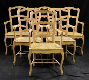 Set of 6 French Ladder Back Rush Seat Arm Chairs