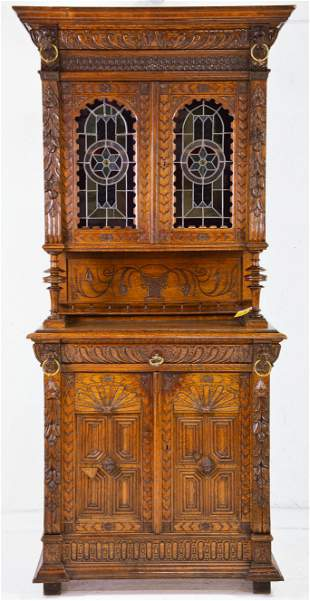 Carved Henri II Style Stained Glass Buffet