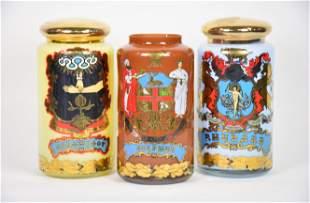 Three Antique Glass Pharmacy Jars