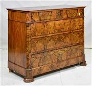 Louis XVI Style Walnut 4 Drawer Commode / Chest