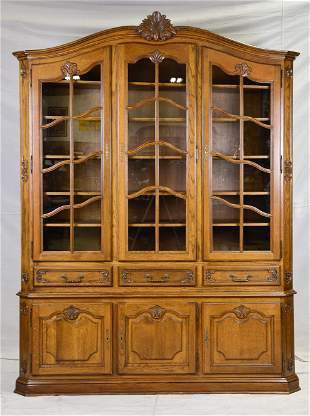 Large Carved Oak French Bookcase / Display Cabinet