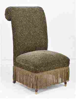 Large Scroll Back Leopard Print Chair with Fringe