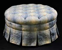 Round Blue / White Button Tufted Ottoman
