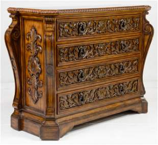 Maitland Smith Heavily Carved 4 Drawer Chest