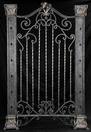 Lg Freestanding Metal Panel with Columns & Fleur-de-lis