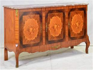 French Marble Top 3 Door Inlaid Sever / Sideboard