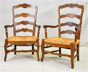 Pair Ladder Back Rush Seat Arm Chairs
