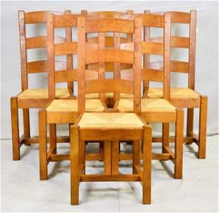 Set of 6 Ranch Oak Style Rush Seat Ladder Back Chairs