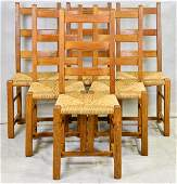 Set of 6 Ladder Back Chairs with Wicker Seats