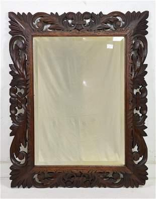 Open Pierced Carved Oak Beveled Mirror