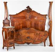 Louis XV Style Carved Bed With Rails & Pot Cupboard