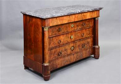 French Empire Style Marble Top 4 Drawer Chest