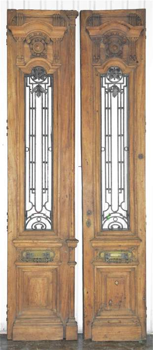 2 Large Carved Door Panels With Iron Inserts