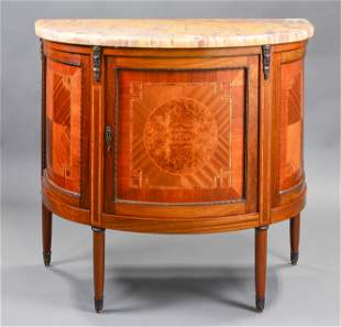 Inlaid Mahogany Marble Top Demilune Cabinet