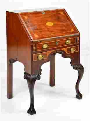 Small English Mahogany Inlaid Ball & Claw Bureau