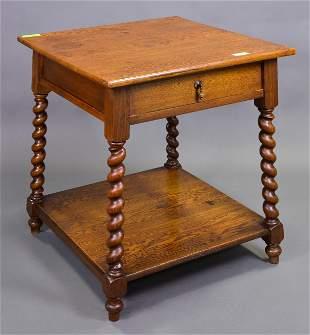 Oak Barley Twist Single Drawer Side Table