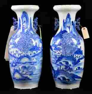 Pair Large Porcelain Blue / White Asian Vases