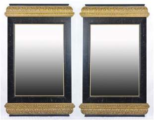 Pair Black / Gold Framed Beveled Mirrors