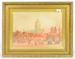 Gold Framed Watercolor  Under Glass - Redcliff Church
