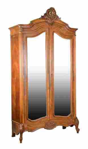 Louis XV Style Double Beveled Mirror Door Armoire
