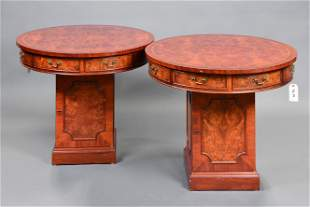 Pair Inlaid Drum Style Round Tables With Cabinet Base