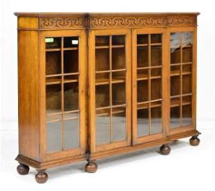 English Oak 4 Door Bookcase