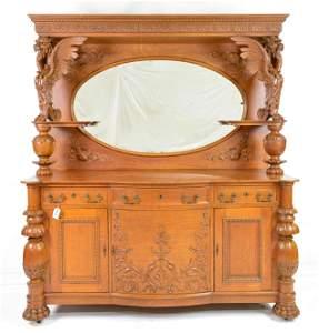 Large Griffin Carved Oak Mirror Back Server / Sideboard