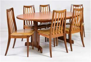 Gplan Danish Modern Style Oval Table & 6 Chairs